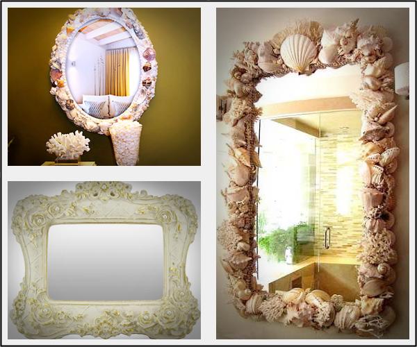 Decoração de espelhos com conchas e pérolas