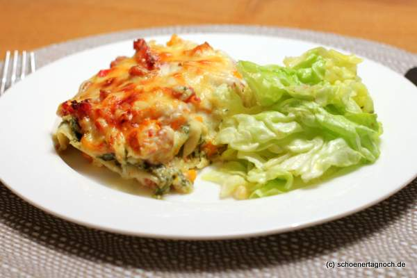 Kürbis-Salsiccia-Lasagne mit Rucola-Schmand