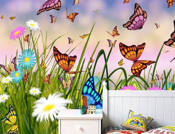 fantasia tapetti Valokuvatapetti maisema ruoho perhosia tyttöystävä