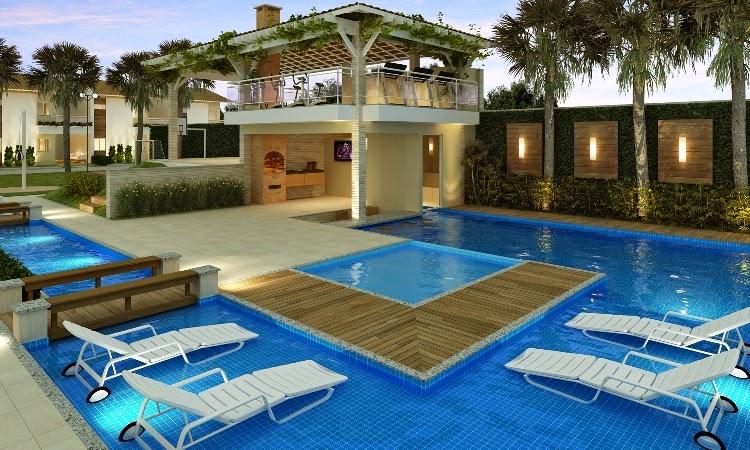 Piscinas inspiradoras cascatas decks bordas infinitas for Piscina in casa