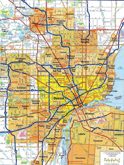 mapa Detroit Michigan - USA