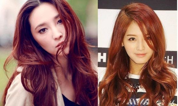Golden copper long hair