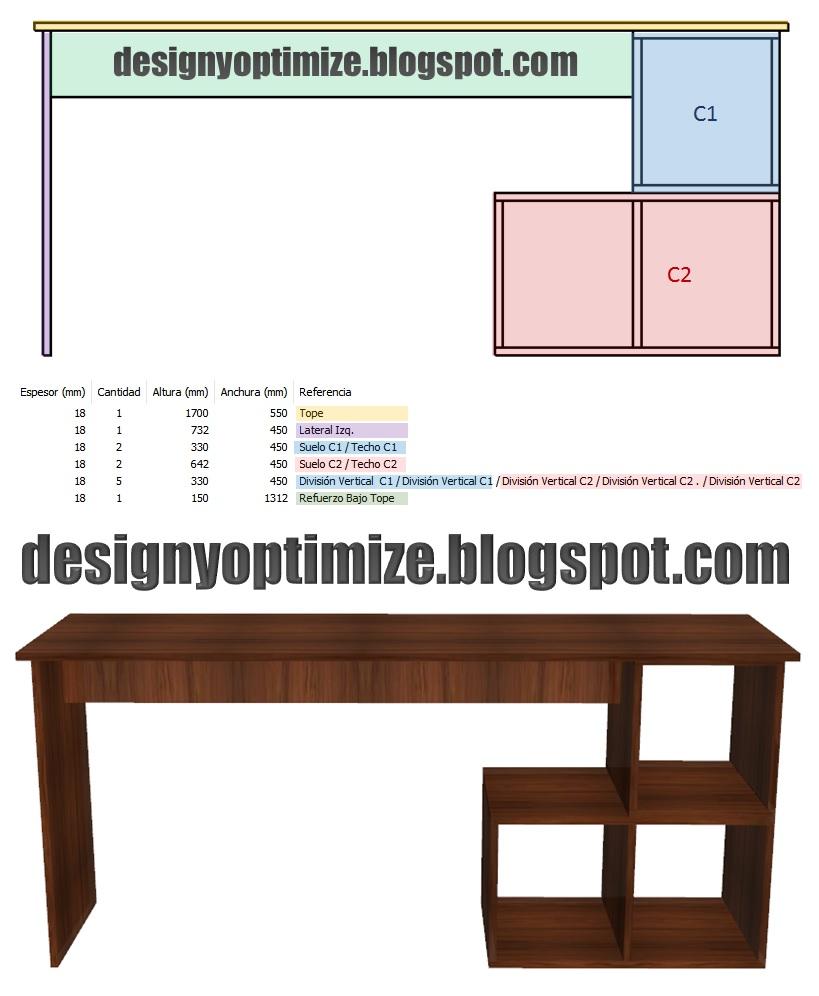 Dise o de muebles madera escritorio biblioteca planos for Planos y diseno de muebles