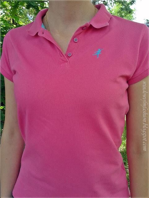 Różowa koszulka polo z baletnicą