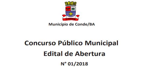 concurso público Prefeitura de Conde BA