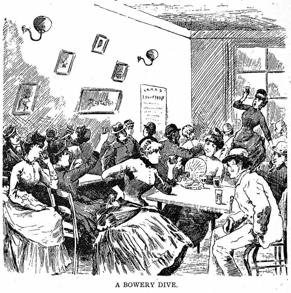 an 1888 USA Bowery dive, an illustration