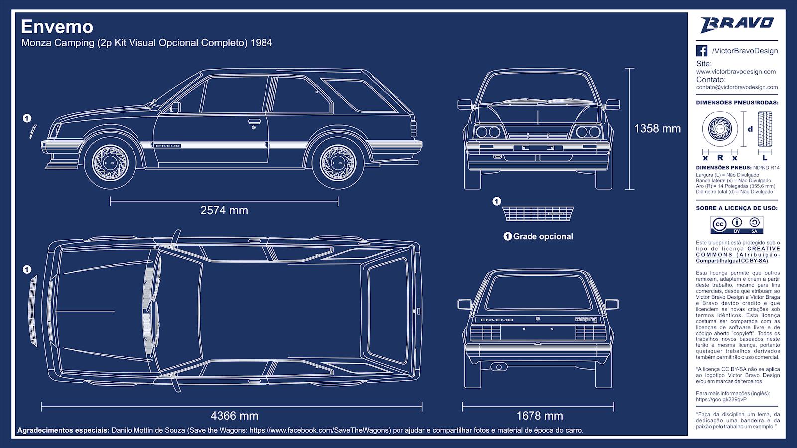 Imagem mostrando o desenho do blueprint do Envemo Monza Camping (2p Kit Visual Opcional Completo) 1984