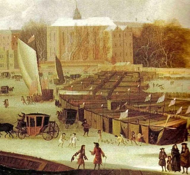 A Tamisa congelada era ocasião boa para feiras. Se por acaso a cena vier a se repetir nossos catastrofistas verdes profetizarão a morte do planeta por 'frio antropogênico'?