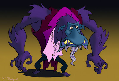 Cartoon style character design of Jekyll and Hyde monster, painted digitally.