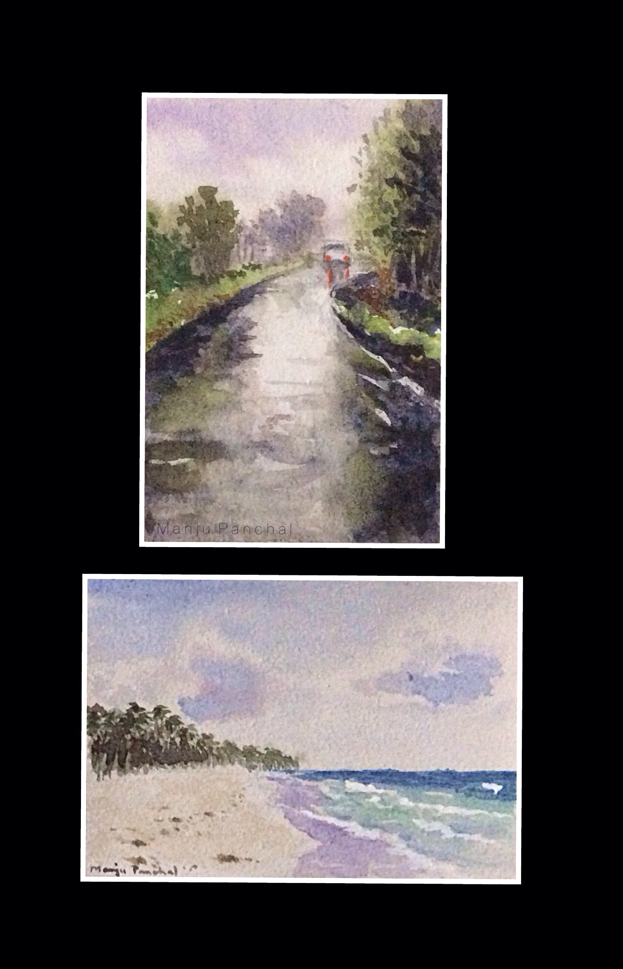 Mini water colour paintings by Manju Panchal