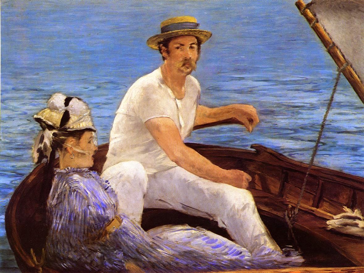 No Barco - Pinturas impressionistas pintadas por Édouard Manet