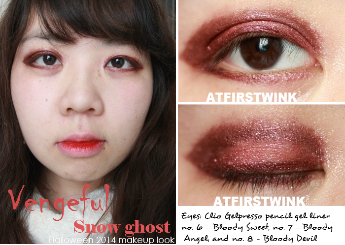 Halloween 2014 makeup look: vengeful snow ghost using Clio Gelpresso pencil gel liner in no. 6 - Bloody Sweet, no. 7 - Bloody Angel, and no. 8 - Bloody Devil