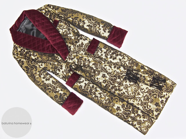 Mens silk jacquard robe luxury paisley velvet dressing gown quilted smoking jacket