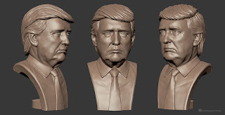 Donald Trump bust sculpture high polygon 3d model (MAX, OBJ, STL). The model UV-unwrapped (non-overlaping)