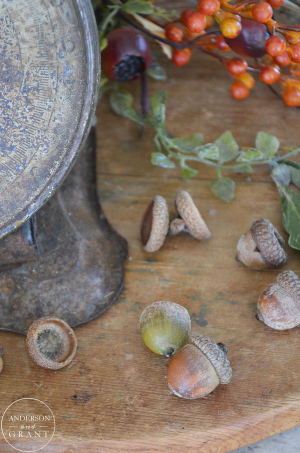 Acorns make a lovely addition to any simple fall vignette.  |  www.andersonandgrant.com