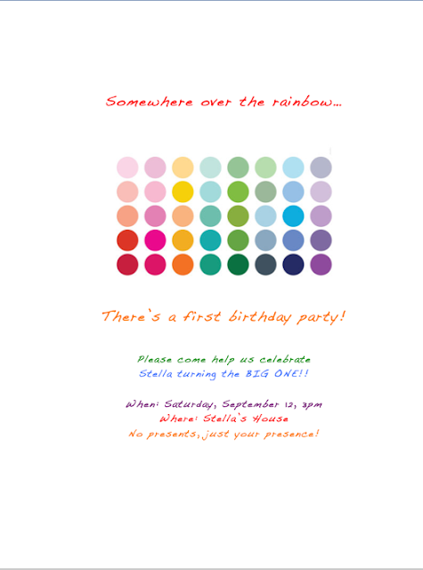 DIY rainbow party invite
