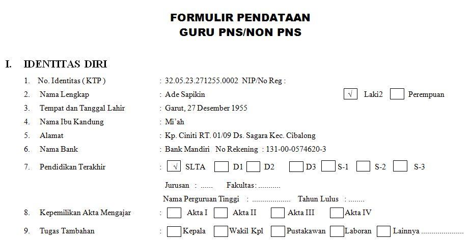 Contoh Format Formulir Pendataan Guru PNS dan NON-PNS dengan Microsoft Word