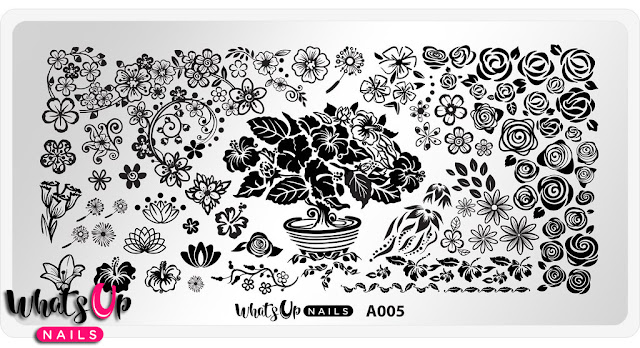 Whats Up Nails - A005 Floral Paradise Plate