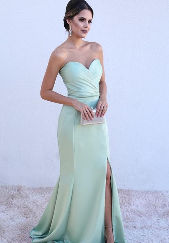 vestido de festa verde claro