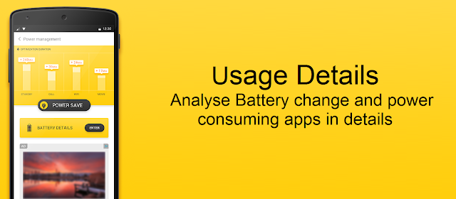 Accurate Battery usage details using Yellow Battery app for Android