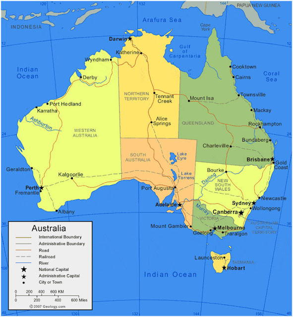 Gambar Peta wilayah Australia