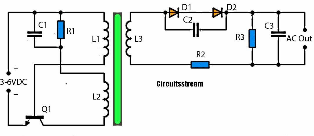 3v to high voltage inverter schematic diagram