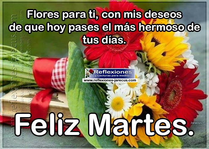 Feliz martes, flores para ti, con mis deseos de que hoy pases el más hermoso de tus días.