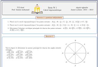 Série d'exercices maths tronc commun international : Trigonométrie partie1 et part2