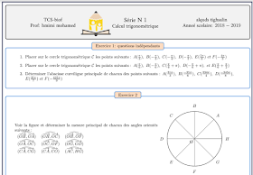 Série d'exercices maths tronc commun international : Calcul Trigonométrique t.c.s.biof trigonometrie