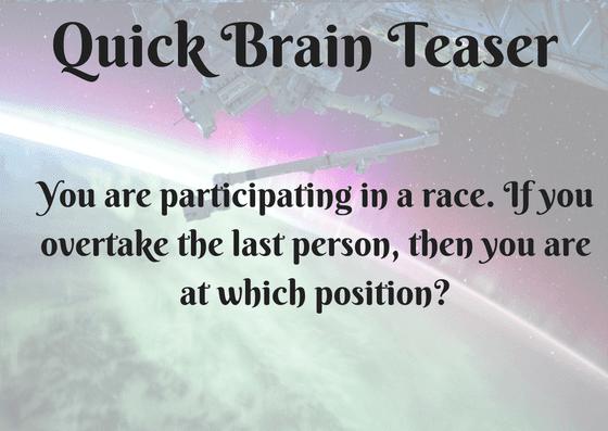 Quick Brain Teaser of Racing
