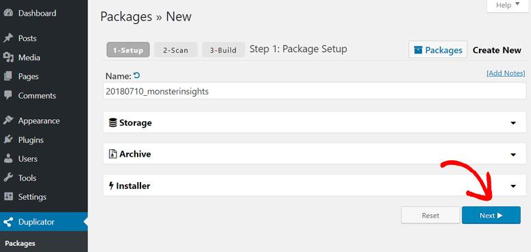 Klik tombol Next untuk memulai proses pembuatan paket