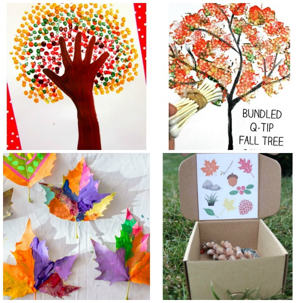 "Such fun fall crafts for kids to make with bits of nature. Fall Yarn Trees from 3 Dinosaurs – Use yarn scraps to make ""leaves"" for a fall tree! What a fun texture."