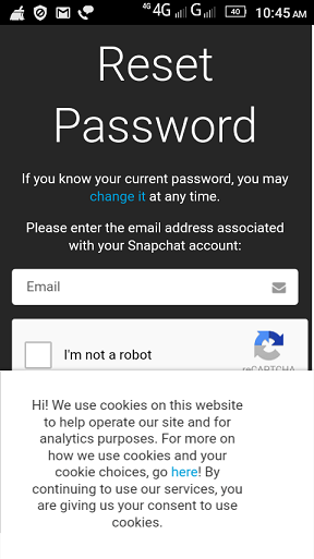 Reset Snapchat Password on Android