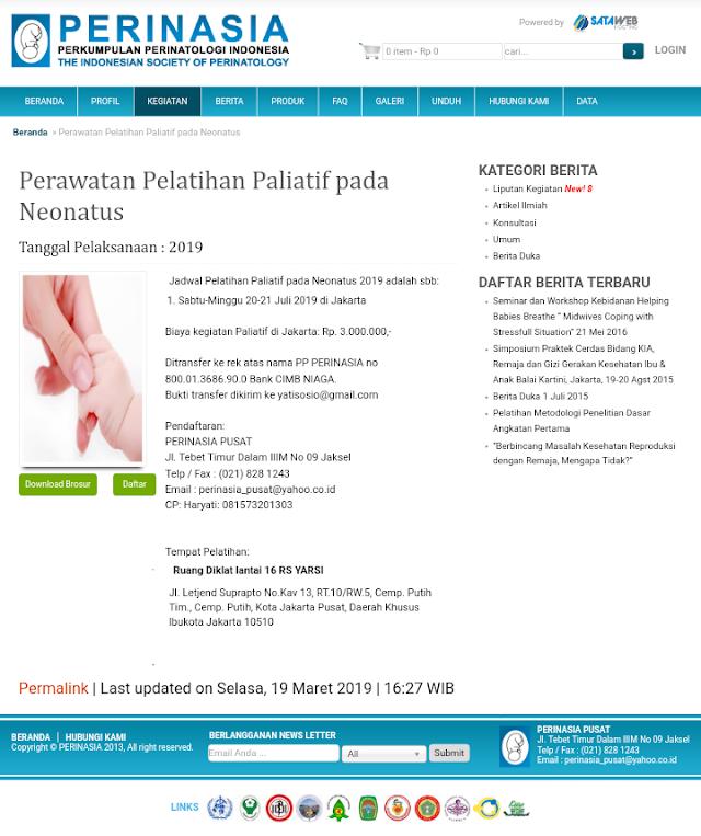 Pelatihan Perawatan Paliatif pada Neonatus-PERINASIA (20-21 Juli 2019) Jakarta