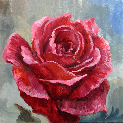 Red Rose Oil Painting by Jeff Ward