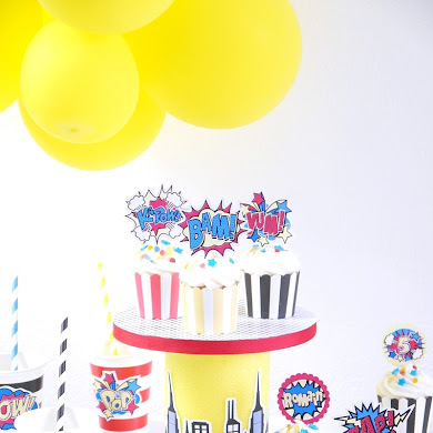 DIY Superhero Birthday Cupcake Stand