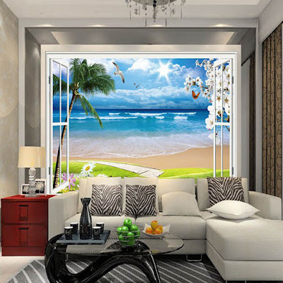 fönster tapet tropisk fototapet strand hav palmer 3d fondtapet