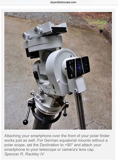 Use your cell phone to get daytime polar alingment (Courtesy: Sky and Telescope Magazine, May 19, 2017)