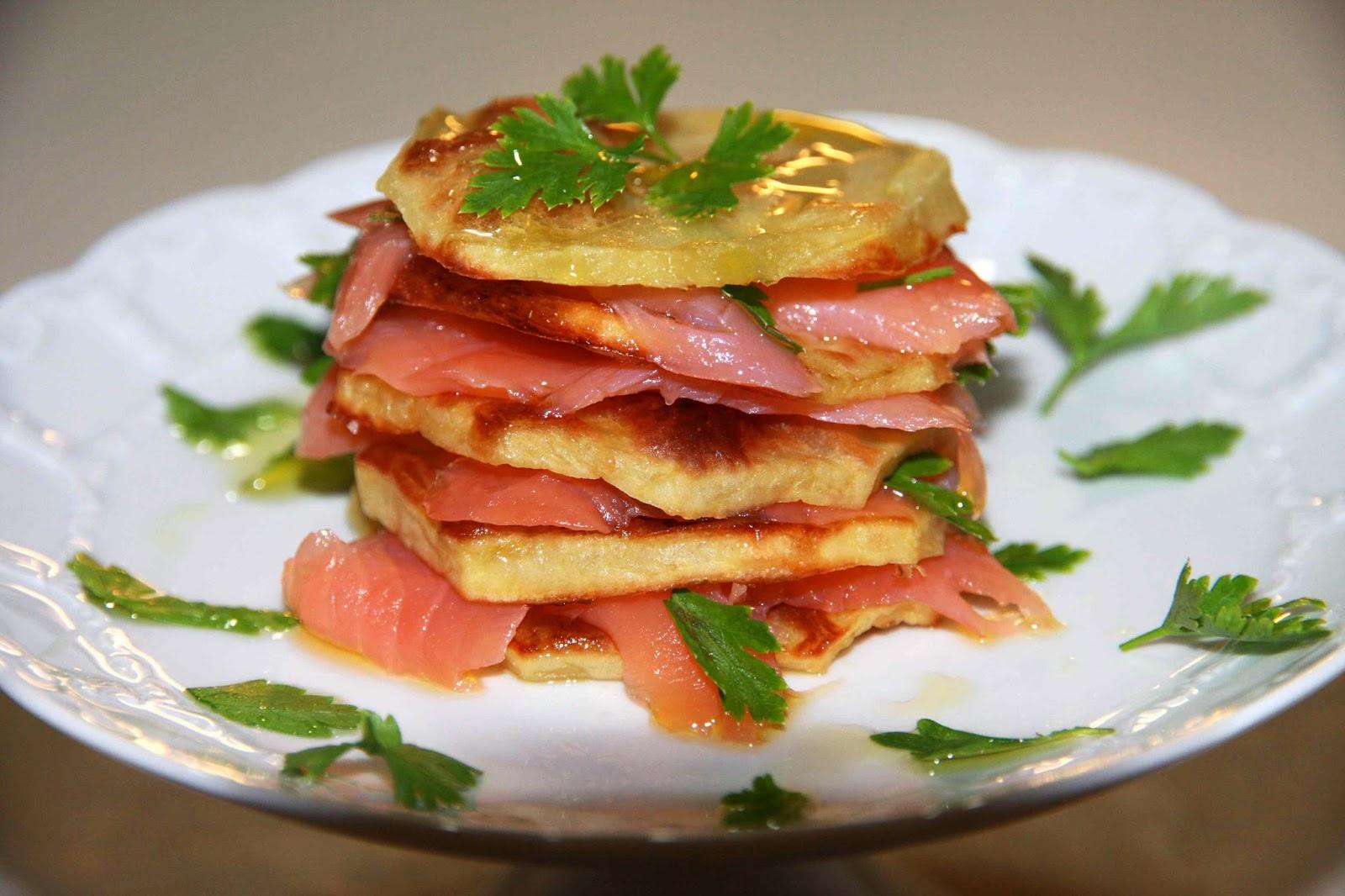 Millefoglie di patate e salmone affumicato con il bimby for Salmone ricette