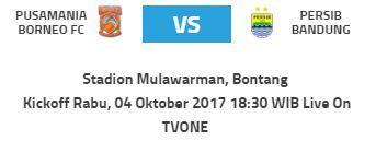 Jadwal Borneo FC vs Persib: Rabu 4 Oktober 2017 di Bontang Kaltim