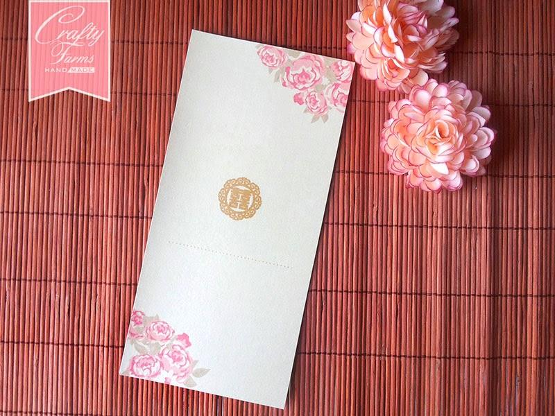 Oriental Chinese Peony Wedding Card