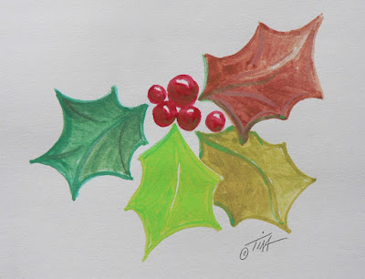 Red and Green make Holly Leaves ©2018 Tina M.Welter
