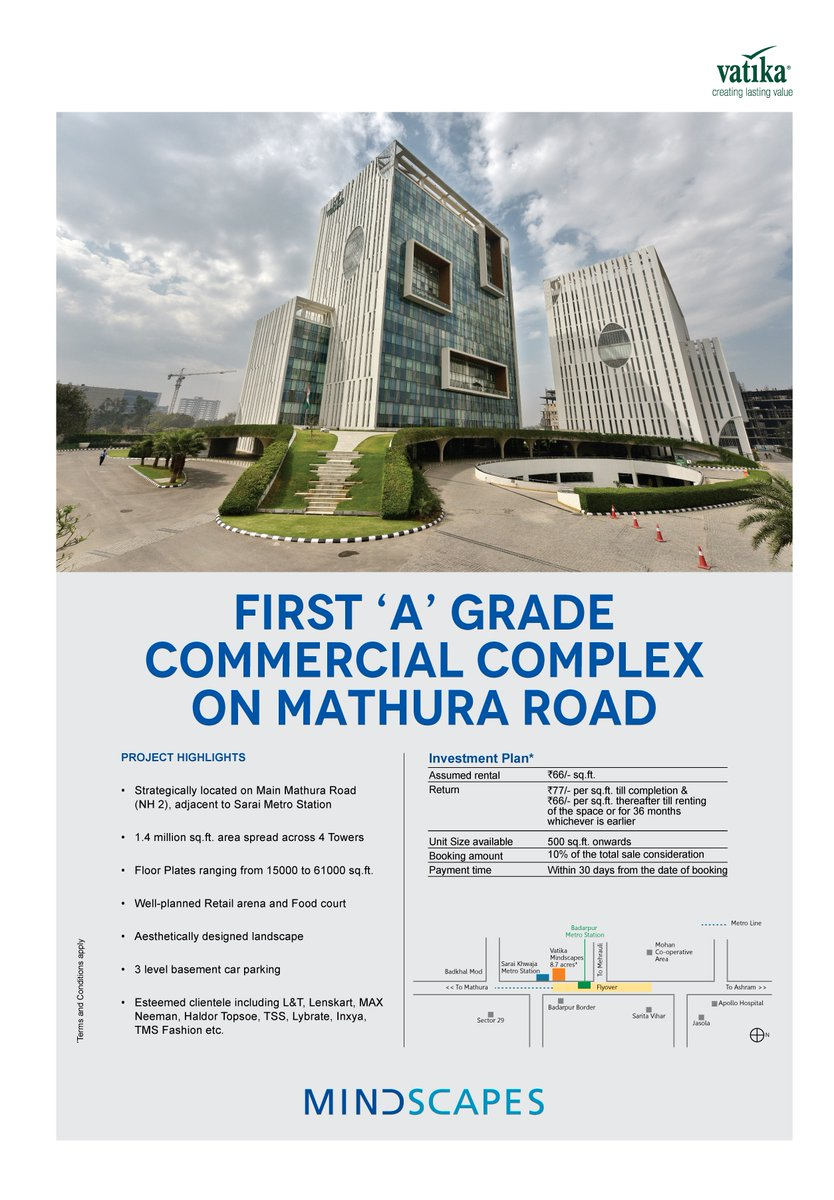 Vatika Mindscapes Commercial Office Space Mathura Road, Delhi