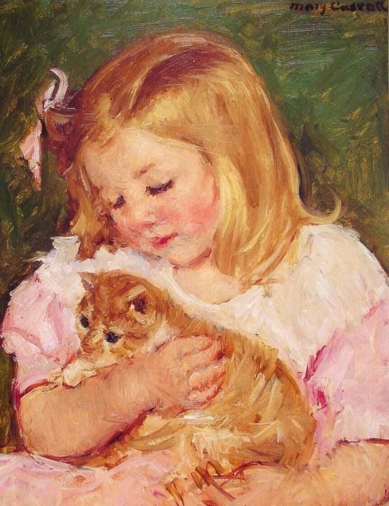 Sara Segurando um Gato - Pinturas de Mary Cassatt | Mulheres na pintura