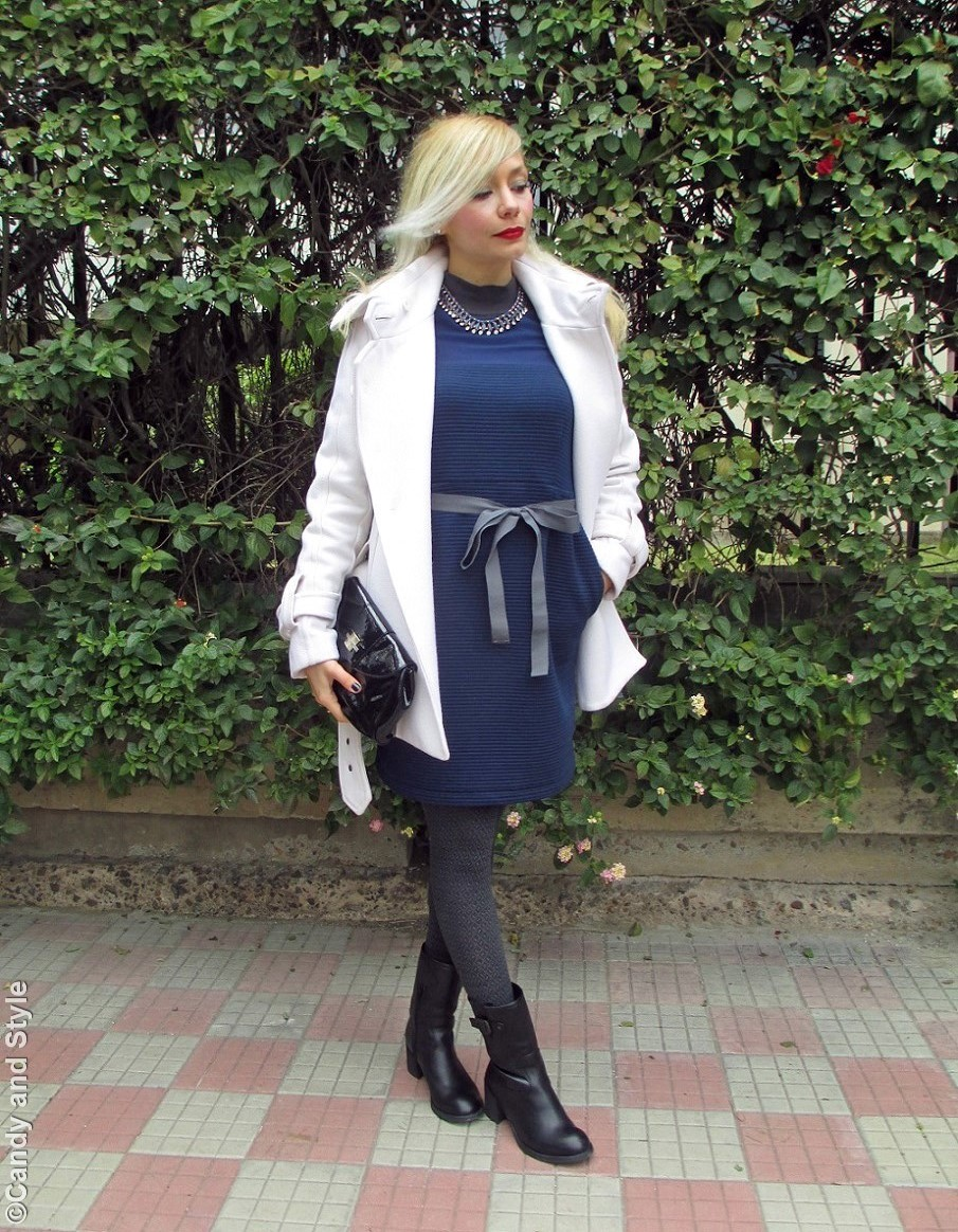 WhiteCoat+BlackScarf+BlueDress+BlackClutch+GreyTights+BlackBoots+RedLips - Lilli Candy and Style Fashion Blog