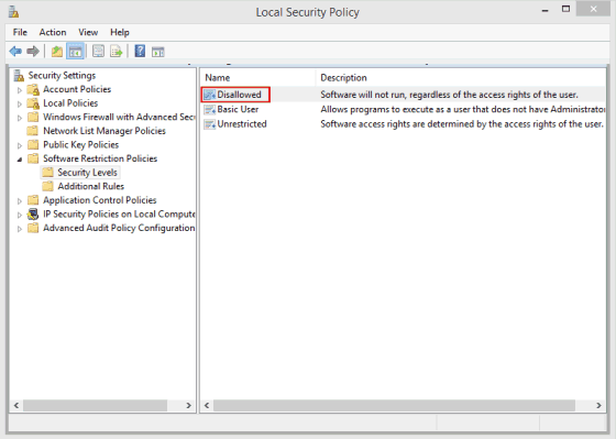 Windows Local Security Policy Editor showing Security Levels