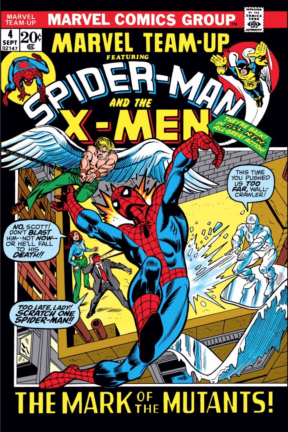Cyclops, Angel, and Iceman attacking the swinging figure of Spider-Man from behind, to Marvel Girl's dismay.