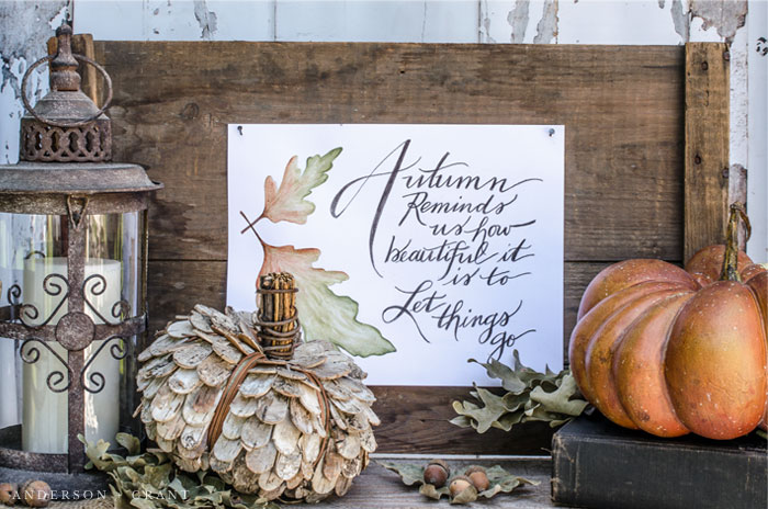 Download a free fall printable and be inspired to decorate your home for autumn by a simple vignette.  |  www.andersonandgrant.com