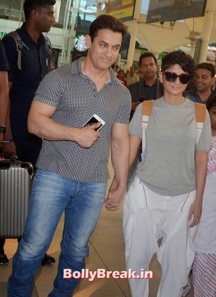 Aamir Khan, Kiran Rao, Bollywood Celebs at Airport to Attend Arpita Khan's Wedding