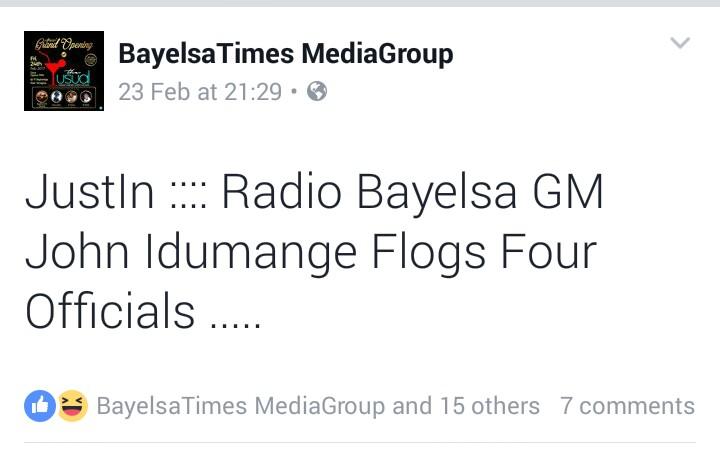 TRENDING: Radio Bayelsa GM Flogs Four Officials